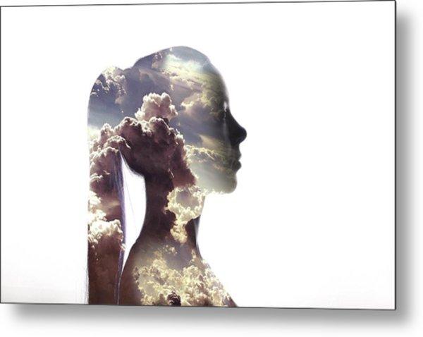 Digital Composite Of Woman And Cloudy Metal Print by Roman Nasedkin / Eyeem