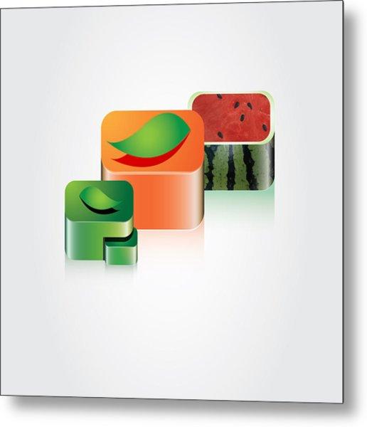 Digital Fruits Metal Print by Ali ArtDesign