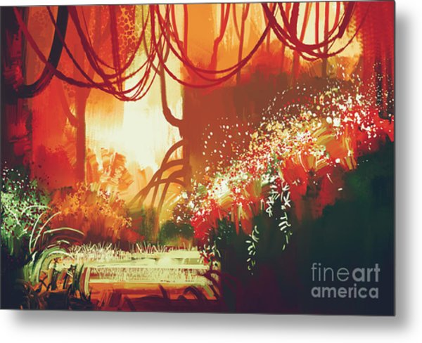 Digital Painting Of Fantasy Autumn Metal Print by Tithi Luadthong