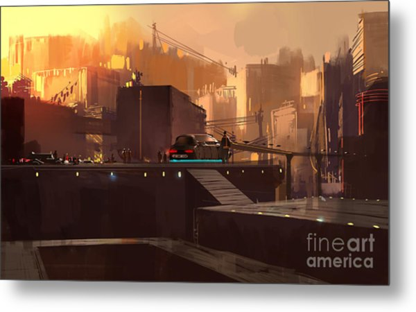 Digital Painting Showing Futuristic Metal Print