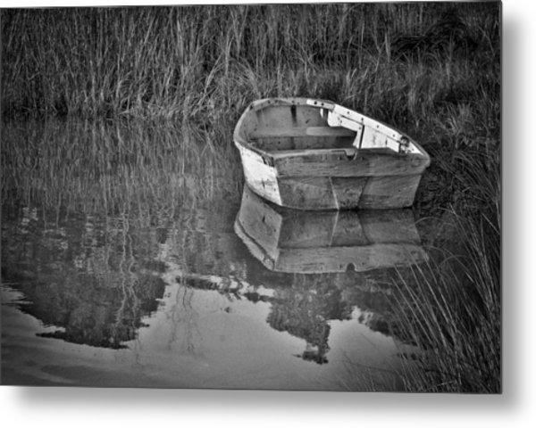 Dinghy In The Marsh Metal Print