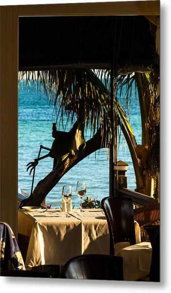 Metal Print featuring the photograph Dining For Two At Louie's Backyard by Ed Gleichman