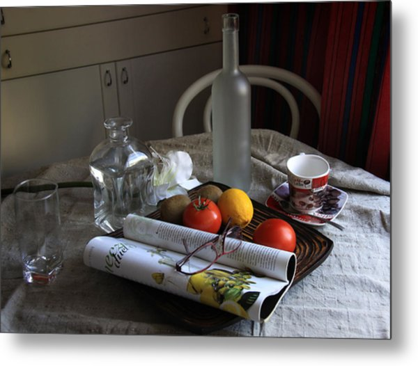 Dining Room Still Life With A Cup Of Coffee. Metal Print