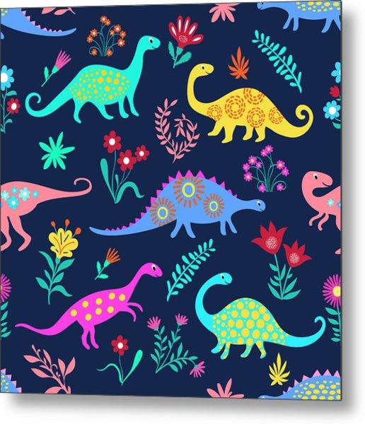 Dinosaurs Cute Kids Pattern For Girls Metal Print