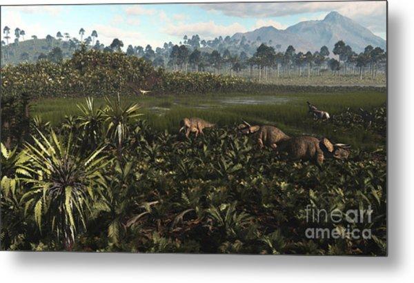 Dinosaurs Graze The Lush Delta Lands Metal Print