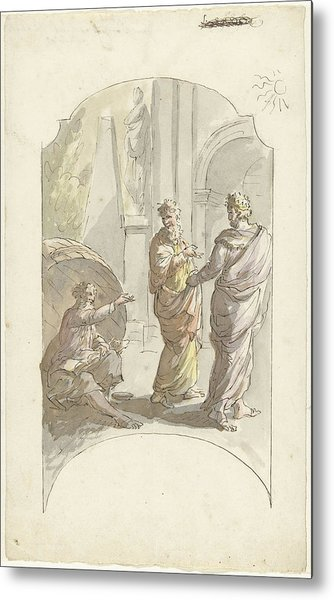 Diogenes Asked Alexander Not To Stand In His Light Metal Print