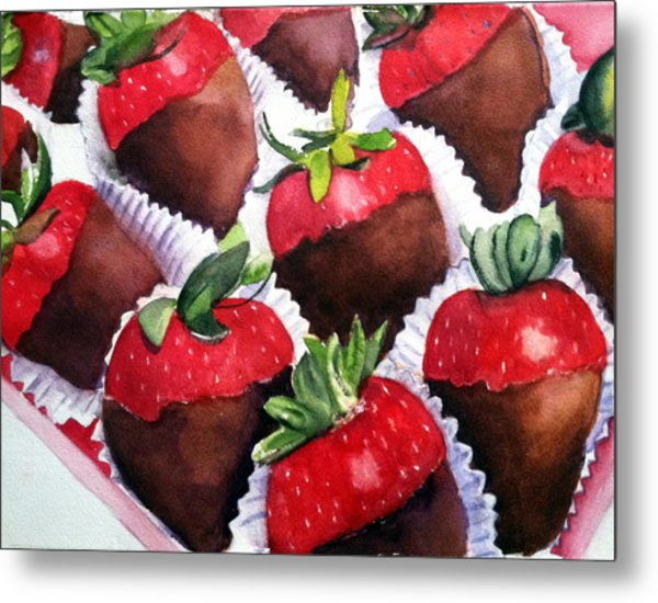 Dipped Strawberries Metal Print