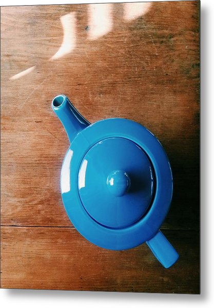 Directly Above Shot Of Teapot On Table Metal Print by Timothy Kirman / Eyeem