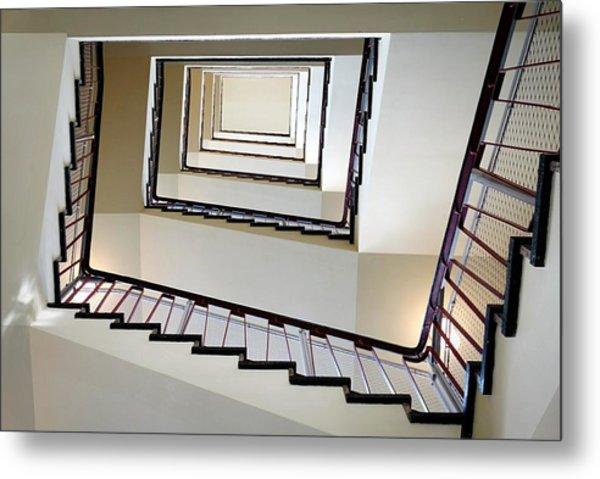 Directly Below Shot Of Spiral Staircase Metal Print by Joerg Fockenberg / Eyeem