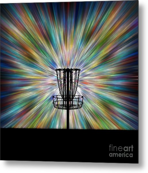 Disc Golf Basket Silhouette Metal Print
