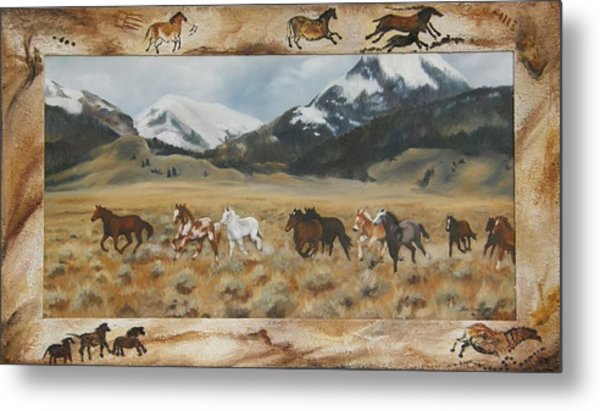 Discovery Horses Framed Metal Print
