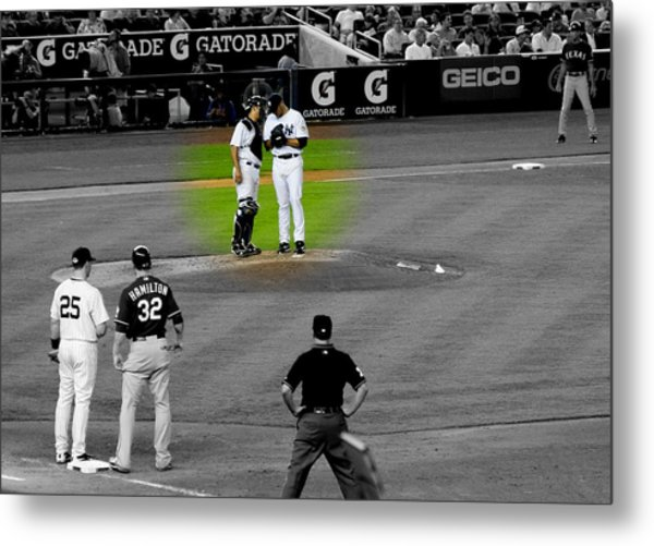 Discussing Strategy Pettitte And Posada Highlighted Metal Print