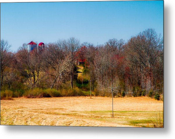 Distant Barns - Rural Art Metal Print by Barry Jones