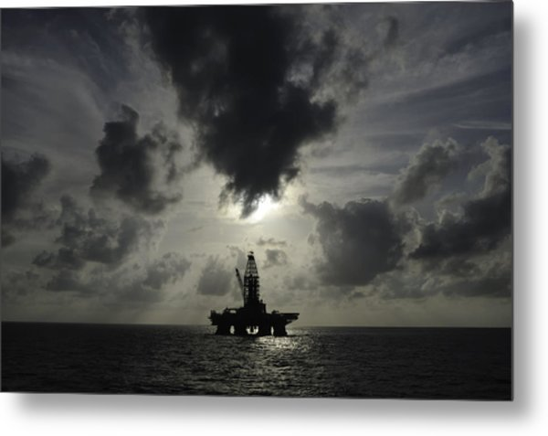 Distant Offshore Oil Rig Metal Print