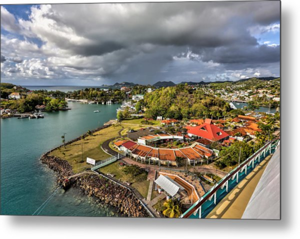 Distant Rain Near The Port In Castries St. Lucia Metal Print