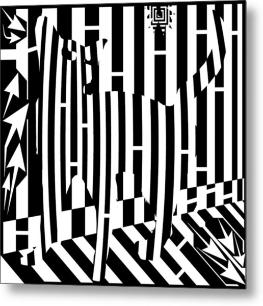 Distracted Cat Maze Metal Print by Yonatan Frimer Maze Artist