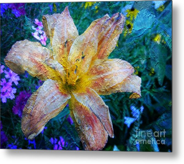Distressed Lily Metal Print