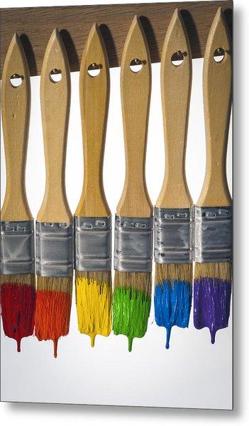 Diversity Paint Brushes Vertical Metal Print