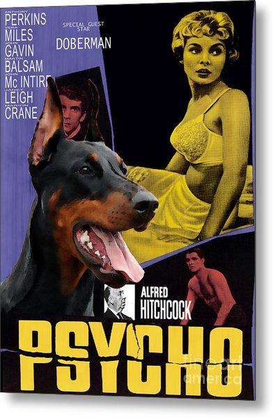 Doberman Pinscher Art Canvas Print - Psycho Movie Poster Metal Print