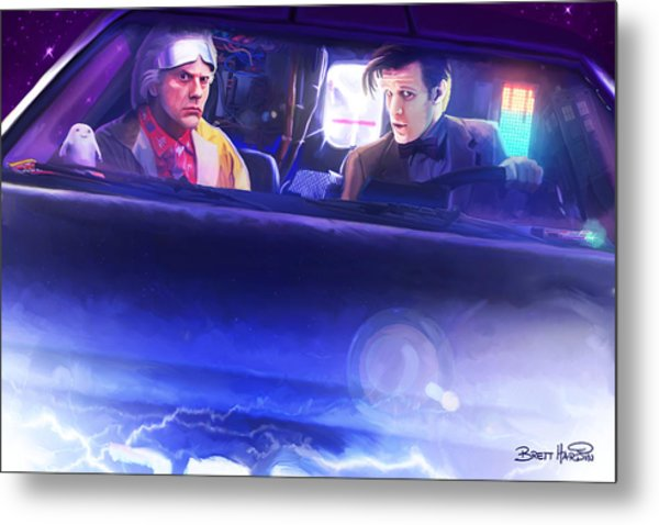 Doc Doctor And The Delorian Metal Print