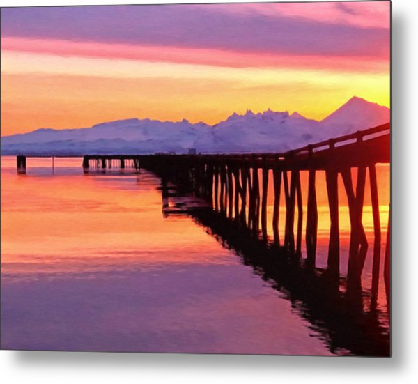 Dock At Cold Bay Metal Print