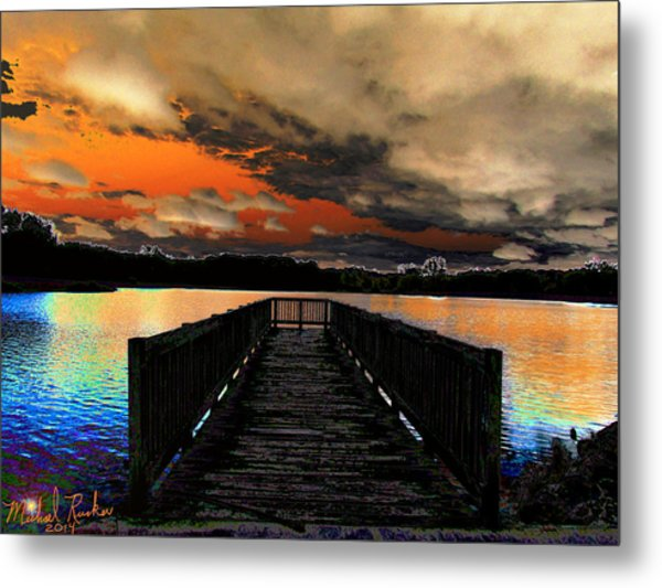 Dock In The Park Metal Print by Michael Rucker