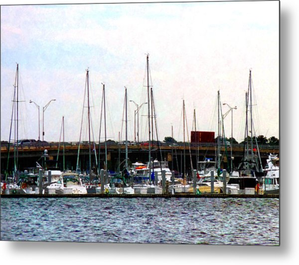 Docked Boats Norfolk Va Metal Print
