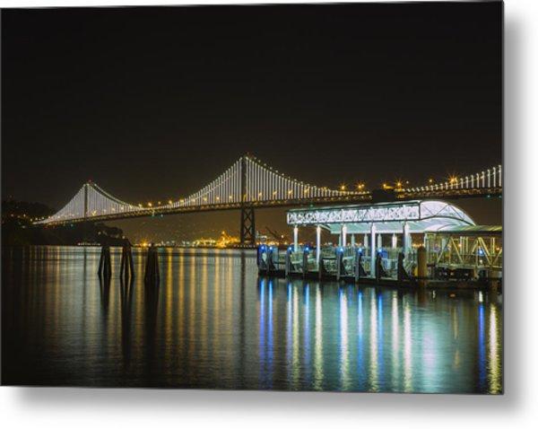 Docks And Bay Lights Metal Print