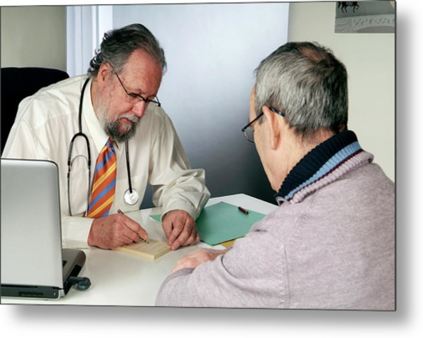 Doctor And Patient Consultation Metal Print