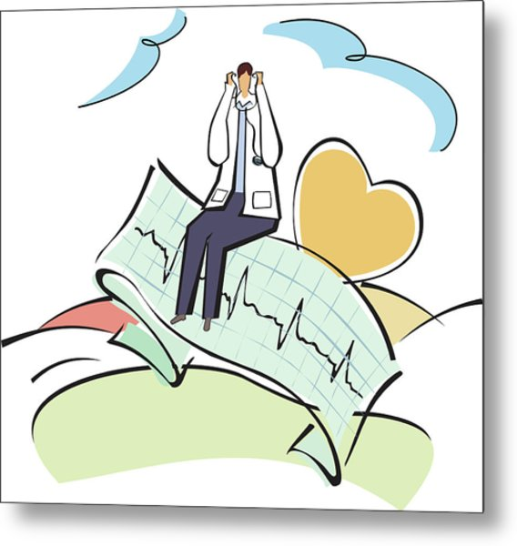 Doctor Sitting On An Ecg Report Metal Print by Fanatic Studio / Science Photo Library