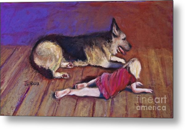 Dog And Child Metal Print by Joyce A Guariglia
