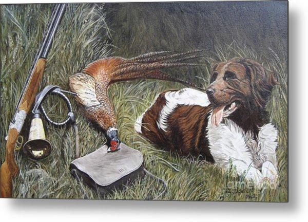 Dog And Pheasant Metal Print by Zeljko Djokic