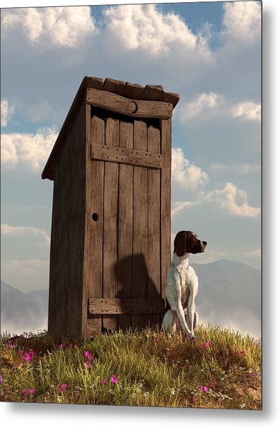 Dog Guarding An Outhouse Metal Print