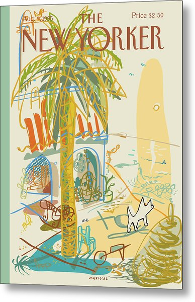 Dog Walking Under A Palm Tree Metal Print