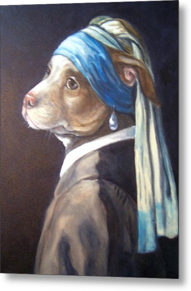 Dog With Pearl Earring Metal Print