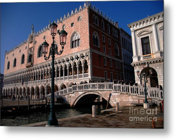 Doges Palace With Bridge Of Sighs Metal Print by Jacqueline M Lewis