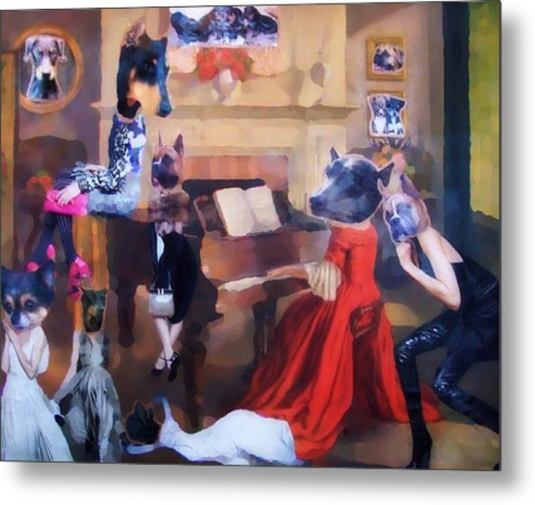Dogs Heads On Beautiful Women Metal Print