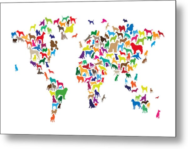 Dogs Map Of The World Map Metal Print