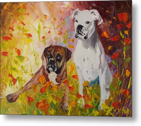 Dogs Painting Fine Art By Ekaterina Chernova Metal Print