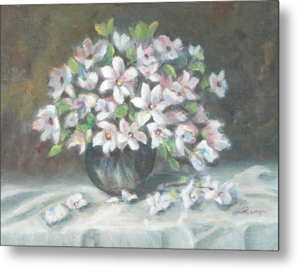 Metal Print featuring the painting Dogwood Buquet by Katalin Luczay