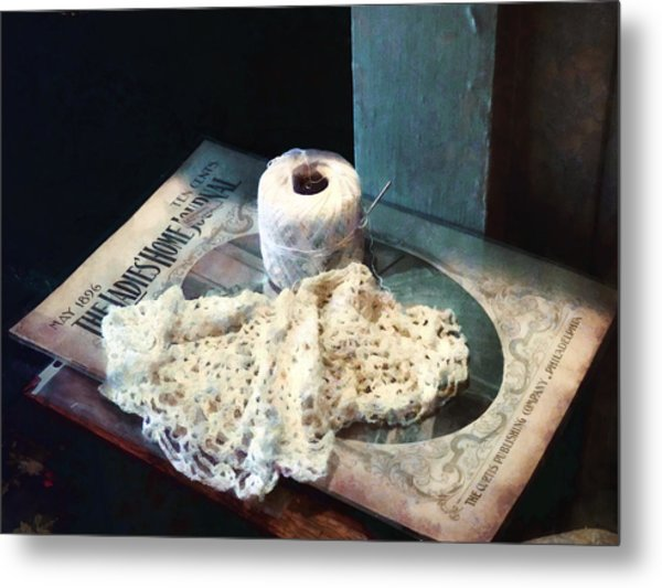Doily And Crochet Thread Metal Print
