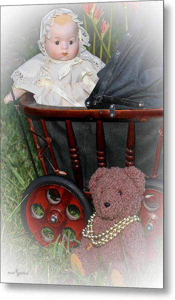 Doll And Teddy Metal Print