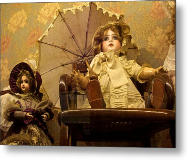 Antique Doll In Chair With Parasol Metal Print