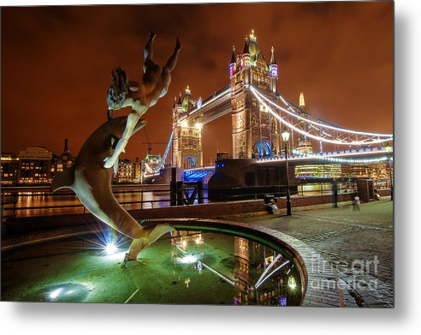 Dolphin Fountain Tower Bridge London Metal Print by Donald Davis