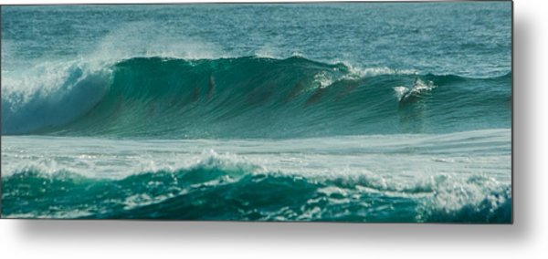 Dolphins In Wave 10 Metal Print