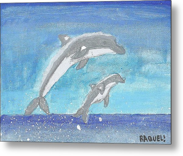 Dolphins Jumping Metal Print by Fred Hanna