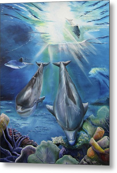 Metal Print featuring the painting Dolphins Playing by Thomas J Herring