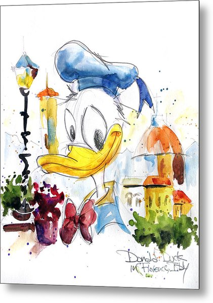 Donald Duck In Florence Italy Metal Print