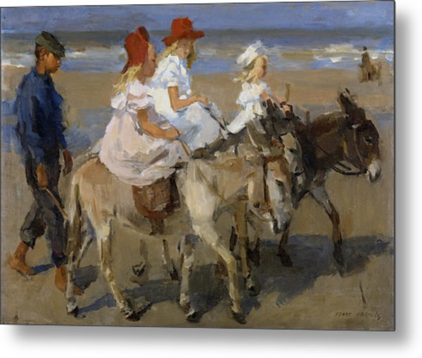 Donkey Rides Along The Beach Metal Print