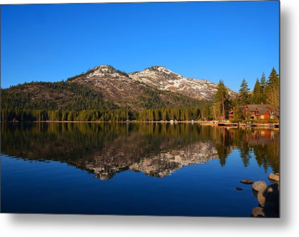Donner Lake Cabin Reflection Metal Print